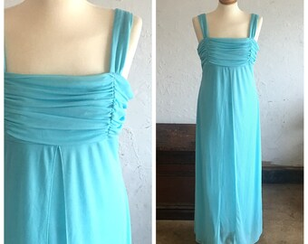 90's (does 70's) AQUA BLUE MAXI - Semi-Formal Dress // Wedding // Special Occasion // Excellent Condition // Size Medium- Large