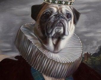 Package of three pug dog greeting cards: Lord Rocco Pug. Pop Surrealism Animal Dog Art