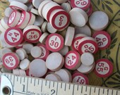 Vintage BINGO Numbers / Markers - Late 1930's Era ~ Wood / Wooden ~ Red Numbered and Round Marker Blanks
