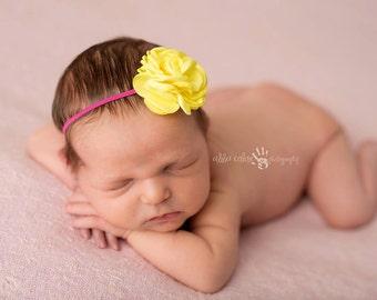 Spring Headband, Yellow Headband, Baby Headband- Yellow Satin Rose Headband on Pink Skinny Elastic Baby Hair Accessories
