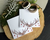 Set of 12 - Printed Christmas Cards - Deer Xmas Card - Holiday Card - Animal Greeting Card