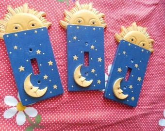 Sun and moon ceramic Switch plates with stars popular blue yellow colors  10.00 EACH