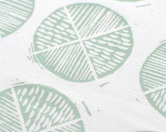 Shield in Pale Mint : organic cotton handprinted fabric panel blue green