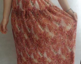 Vintage gypsy skirt size 10/12 pink boho hippie peasant long