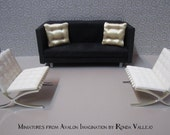 Miniature 1/12th or 1:6th Scale 4 Tuck pillow in textured gold satin Hollywood Regency mid century modern glam luxe