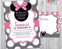 Minnie Mouse Invitation | Oh Twodles Invitation, 2nd Birthday Minnie Mouse Invitation FREE Thank You Card, Printable Grey Pink Black