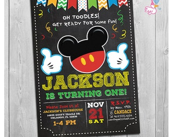 Mickey Mouse Invitation, Mickey Mouse Birthday Invitation, 1st First Birthday Mickey Mouse Invite, Oh Toodles Birthday
