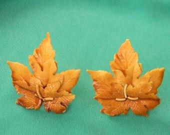 Hello Autumn 60s Caramel Celluloid Leaf Clip Earrings, Bold