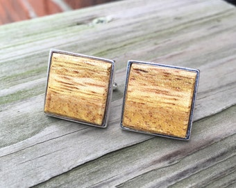 Solid 925 Sterling Silver Cufflinks with Monkey Pod Wood Inlay Handmade