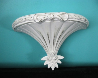 Vintage White Ornate Wall Shelf~Shabby Chic Wall Shelf~Flowers Bow~Cottage Chic~Nursery Bathroom Bedroom White Wall Shelf