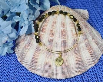 Gold Plated Accent Bracelet...Expandable Memory Wire Beaded Bangle Bracelet.....Memory Wire Bracelet....Tree of Life Bracelet