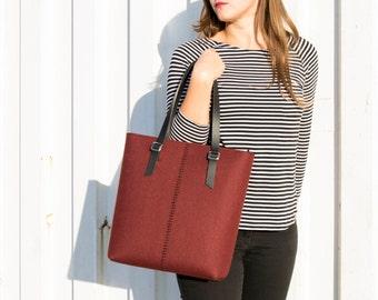 40% OFF - Felt TOTE BAG / leather straps / maroon / felt women's bag / wool felt / made in Italy