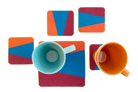 Set of felt coasters, blue, orange, burgundy, geometric, stylish coasters, wool felt, handmade, gift idea, housewarming gift, made in Italy