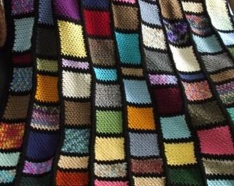 Block Afghan in Scraps - Crochet Throw Blanket