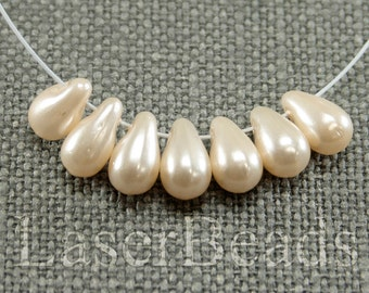 Pearl Teardrop beads 20pc 10mm Pearl coated tear drops Czech glass teardrop beads Beige beads Tear drop beads Off white Small top drilled L.