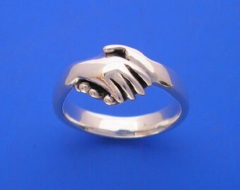 Silver Hand Shake Ring , Hand Made Solid Silver