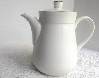 Vintage Stoneware Coffee Pot / Royal Prestige Blackwood White and Black Teapot / Made in Japan