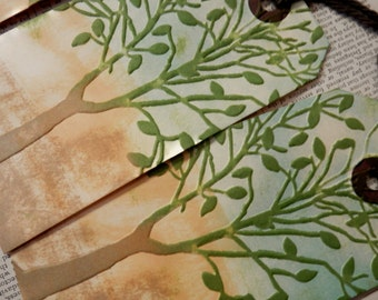 3 LARGE TAGS Embossed Leafy Tree Design Green Sky Blue Browns Tan