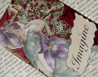 "SALE ACEO ATC  One-of-a-kind Collage and Ink ""Imagine"""