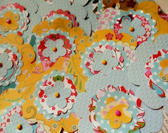 "SALE PAPER FLOWERS Embellishments set/4 ""Sunny Day"" Florals Dots Yellow Pale Blue Red Pink"
