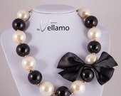 SALE Huge statement design necklace, large faux pearl necklace, black and white, huge faux, 25mm large pearls and bow, fashion statement nec