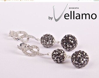 SALE Dangling stud rhodium plated earrings with elegant knot with white CZ crystals and black diamond dark gray crystal balls