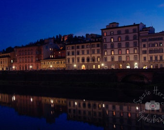Arno River at Night Florence, Italy Original Color Photography