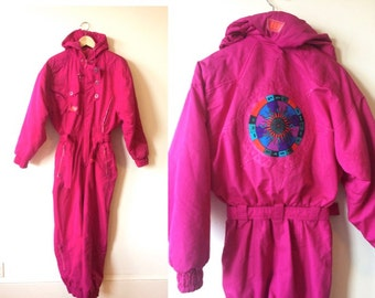 Sale! 80s Neon Pink Après-ski Jumpsuit Onesy Womens XS Small