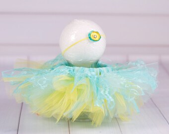 CLEARANCE Turquoise and Yellow Tutu Skirt and Silk Floral Headband, 0 to 3 Months, Photography Prop