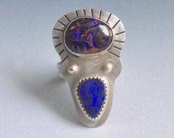 Koroit opal multistone boho ring