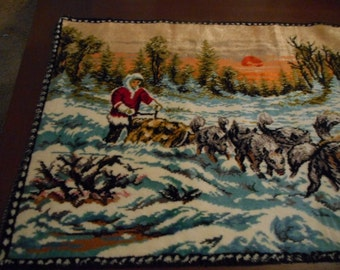 Tapestry, Vintage, Wallhanging, Plush, Sled Team, Eskimo, Winter Scene, Home Decor, Souvenir, Dogs, Huskies, Rustic