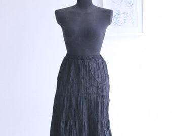 SALE /Romantic Black Midi Skirt, Elastic band waist with lace hem