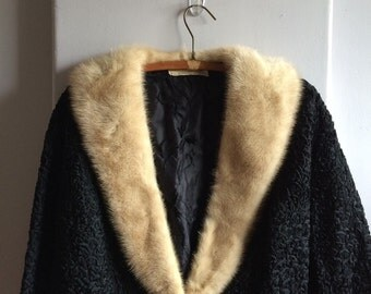 Fur Trimmed Silk Ribbon Jacket / Dolly Muff Mfg Co. Ribbon Knit Original Formal Jacket / 1960's Fur Trimmed Jacket