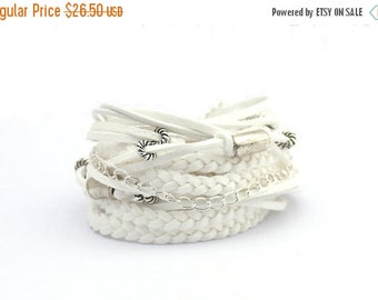 ON SALE White Summer Bracelet, White Silver Bohemian Wrap Bracelet, White Women Boho Wedding Bracelet, Bohemian Jewelry, gift for her, boho