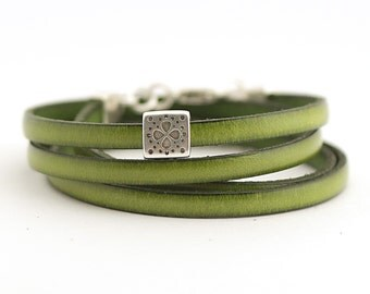 Olive Genuine Leather Men's Bracelet, Sage Green Boho Cuff Leather Bracelet, Men's Jewelry, Leather Cuff for Men, Autumn trends,  boho chic