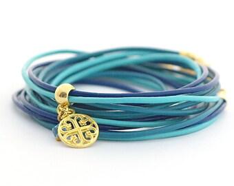 Cobalt Turquoise Wrap Bracelet, Bohemian Jewelry, Teal Turquoise Wrap Bracelet, Wrap Around Bracelet, Minimalist Jewelry