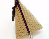 SUN BAG  Pale Yellow Dotted Triangle Pouch, miniclutch, stash bag, cosmetic bag, dark eggplant purple zipper, lined, remnant fabri
