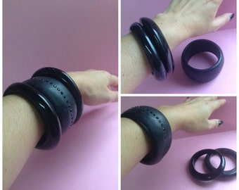 80's Original Chunky Resin Bangle Bracelets, set of 3, black bangles, medium width, Disco, Greece