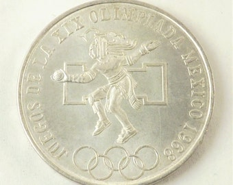 1968 Olympic Coin, 25 Mexican Peso, Olympic Collectible, Vintage Coin, Silver Coin