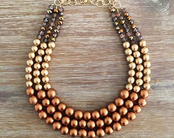 One•Of•A•Kind Copper & Sparkling Gold Statement Necklace