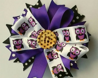 Halloween Black and Purple Owl Bow Hair Clip with Polka Dots