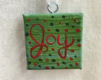 """Original Handmade Christmas Ornament """"Joy"""" in Green and Red Acrylic Paint on a Mini 2x2 Canvas Holiday Art Painting/Home Decor"""