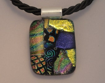 Fused Dichroic Glass Multi-Colored Pendant - BHS03639