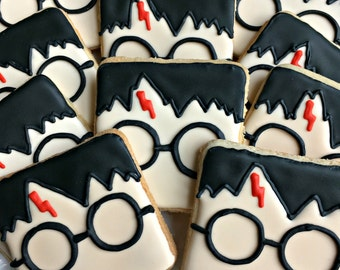 Harry Potter Inspired Cookies Decorated Cookies Birthday Party Favors One Dozen