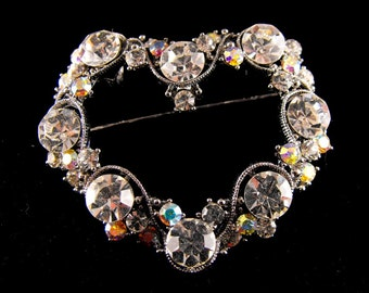 Rhinestone Heart Brooch Gorgeous Clears Aurora Borealis Dusted Sparkler Pin or Pendant