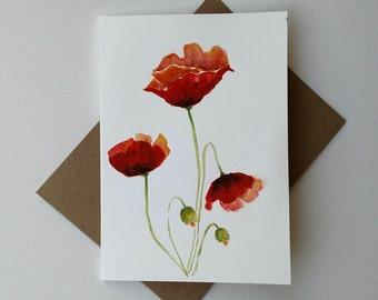 ORIGINAL Red Poppies Flowers / Watercolor Poppies Card/ Red Poppies Card/ Red Poppies Painting