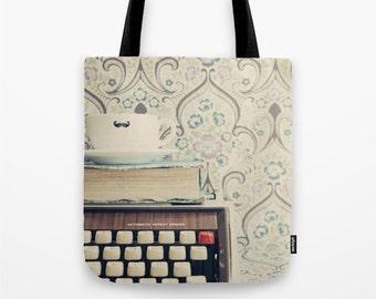 SALE Tote Bag, Canvas tote, large tote, market tote, cream bag, book bag, brown bag, vintage bag, vintage books, hipster gift, writer gift