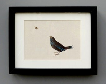 Blackbird and bee original framed canvas print