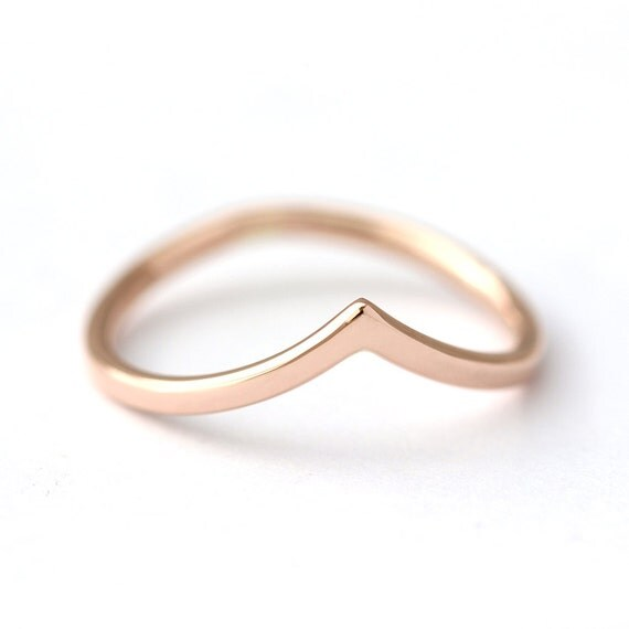 Curved Wedding Band Rose Gold Band Delicate Gold Band
