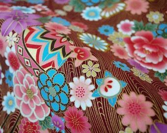 Japanese fabric, floral cotton fat quarter, quilt fabric, japanese yukata fabric, kimono kawaii fabric, japanese kiku fabric, tissu japonais